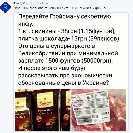 Гордимся или завидуем: в сети сравнили украинские и британские цены